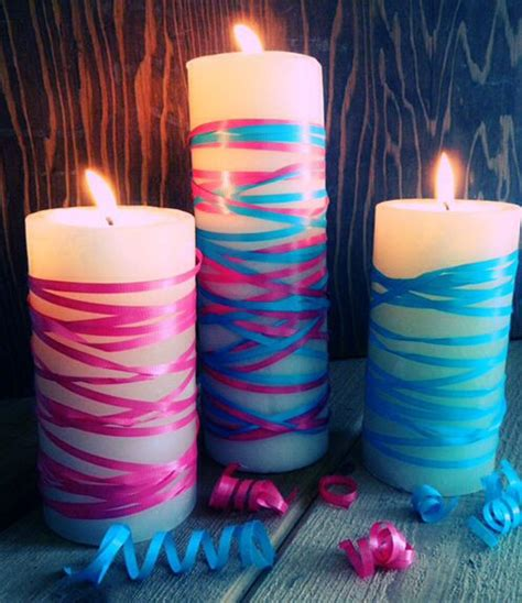 candle decorating ideas with ribbon ribbon wrap illuminations ribbon wrap gender reveal and gender