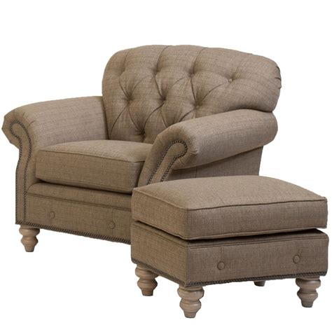 Traditional Button Tufted Chair And Ottoman Combination By