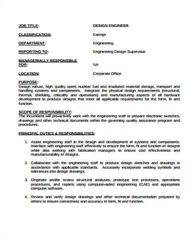 design engineer job responsibilities engineer job description sle 12 exles in word pdf