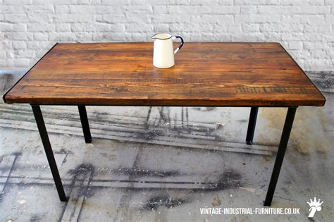 Vintage Industrial Dining Table Stencilled Vintage Industrial Dining Table