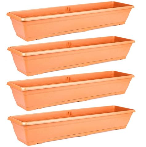 trough planter box set of 4 large 72cm terracotta garden plastic trough balcony planter window box ebay