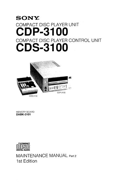 Sony Cdp3100 Service Manual Immediate Download