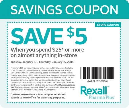 printable restaurant coupons winnipeg rexall 5 off coupon when you spend 25 jan 13 15