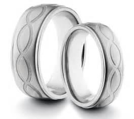 Infinity Wedding Band Sets His S 8mm 6mm Titanium Brushed Wedding Band Ring Set