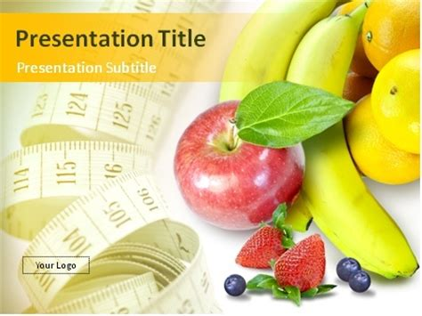 Download Fresh Fruits Berries And A Tape Measure Powerpoint Template Free Health And Nutrition Powerpoint Templates
