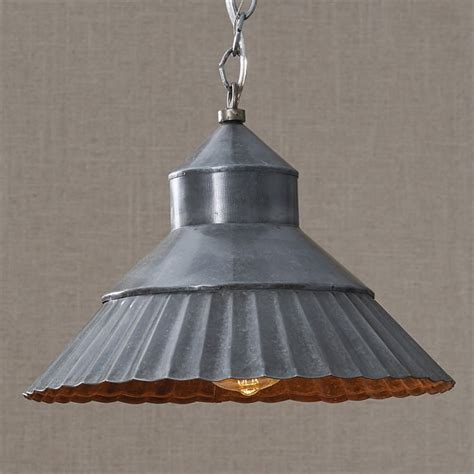 Galvanized Metal Crimp Hanging Pendant L Tin Pendant Light