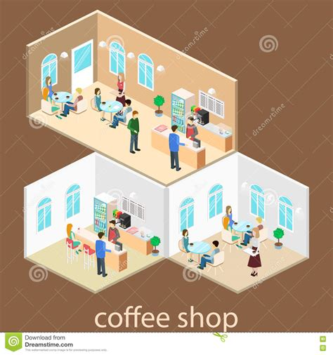 coffee shop flat design isometric interior of coffee shop flat 3d isometric