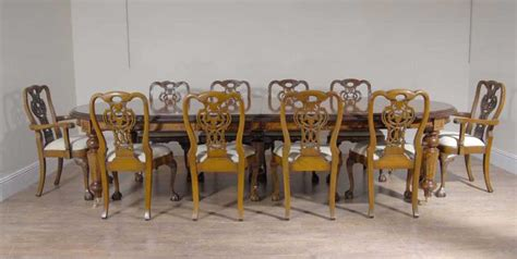 italian marquetry dining table set walnut george ii chairs