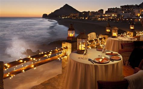 romantic dinner romantic table setting by the ocean wallpaper 16477
