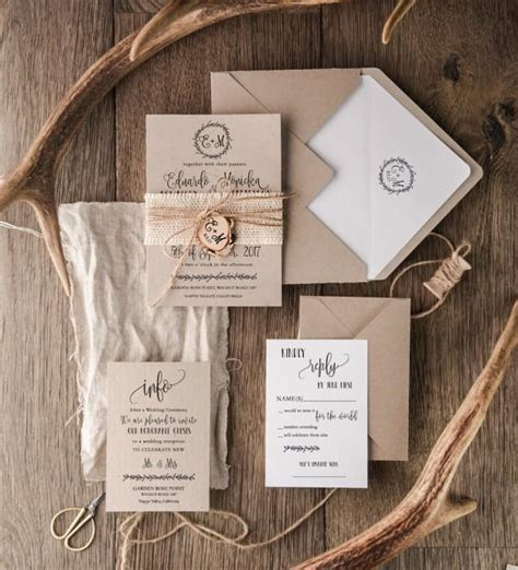 sheer initial wedding invitations rustic wedding invitation set 20 craft wedding