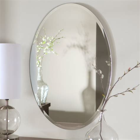 oval bathroom wall mirrors d 233 cor wonderland hiltonia oval bevel frameless wall mirror