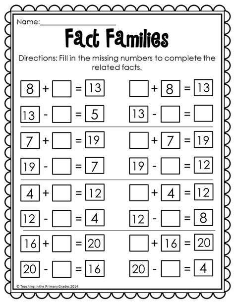 first grade information families of fact fact family worksheets first grade switchconf