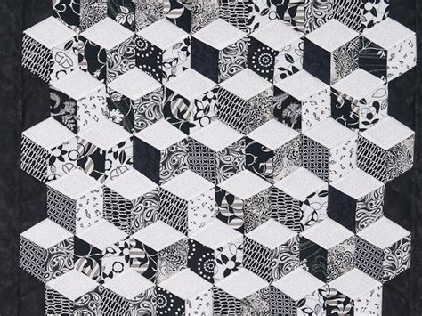 Ac 6423 Black tumbling blocks quilt exquisite meticulously made amish