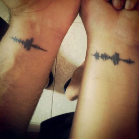 couple tattoo heartbeat sound wave couples tattoo of i love you unique wedding