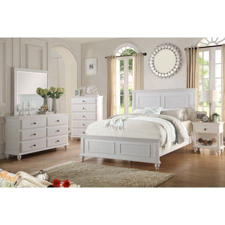 country living bedroom furniture classic white color pc set queen size bed dresser mirror