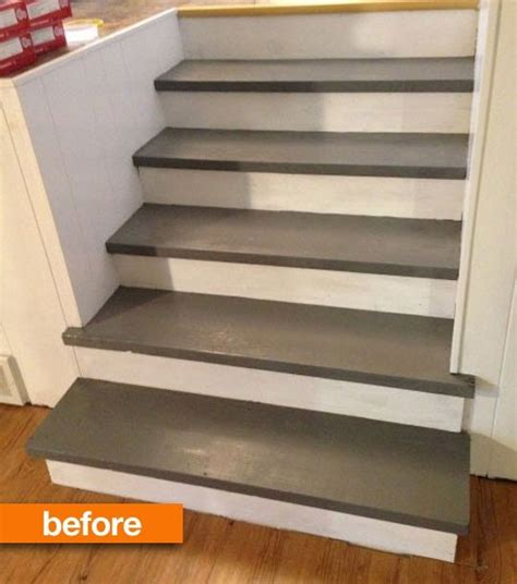 best paint for stair treads before after s stairs go faux in the best way