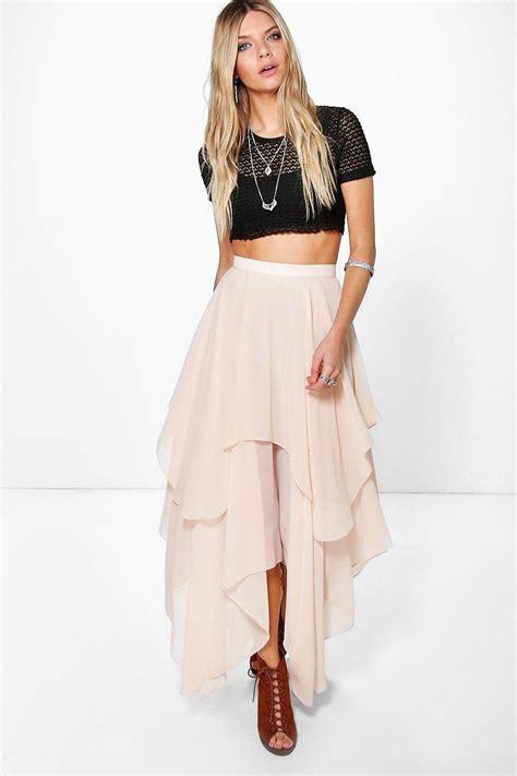 ruffle hem high low maxi skirt at boohoo