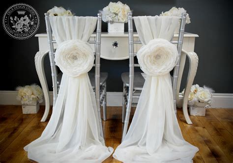 Vintage Glam White Chiffon Chair Covers for ReceptionDIY