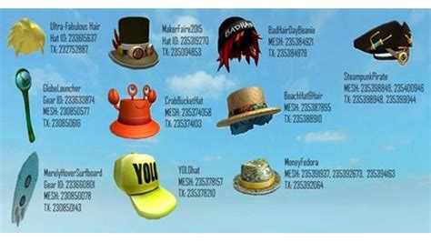 roblox hat id codes roblox id codes for hats latest and best hat models