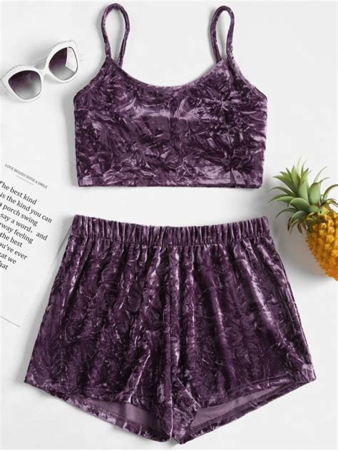 Crushed Velvet Cami Top 2018 crushed velvet cami top shorts matching set in viola