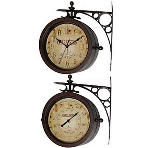 Two Sided by Charleston Two Sided Hanging Wall Clock Clockshoppes