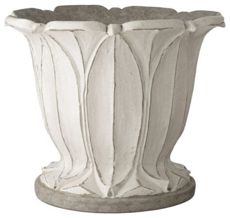 White Outdoor Pots Aged White Planter Traditional Outdoor Pots
