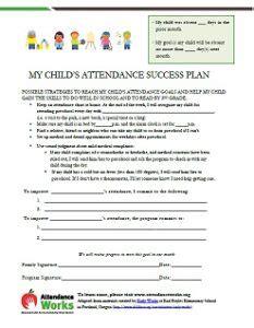 Student Attendance Success Plans Attendance Works Student Attendance Contract Template