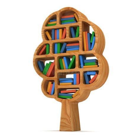 scaffale per libri albero 3d di conoscenza scaffale per libri su bianco