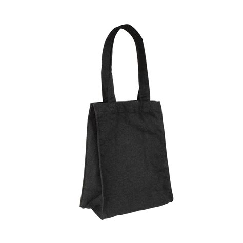 sac en tissu noir 100 coton 20x26x10 5 cm lg d anses 41 cm selfor
