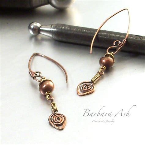 Handcrafted Metal Jewelry - wire wrapped jewelry handmade mixed metal earrings handmade