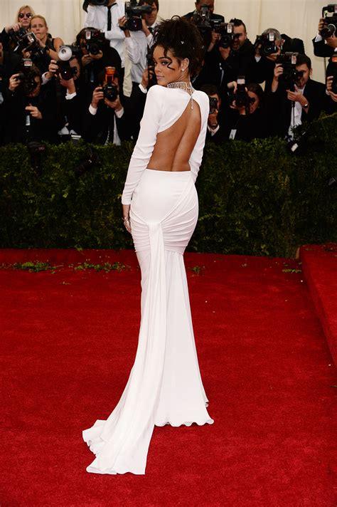 rihanna best dresses rihanna white two sleeve evening dress 2014 met