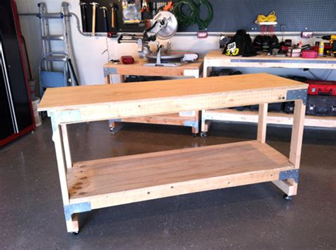 homemade work bench diy workbench retractable wheels woodguides