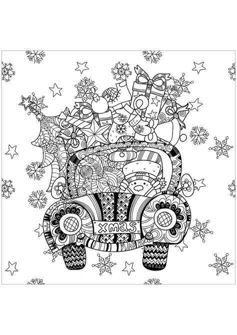 christmas gifts   car christmas adult coloring pages