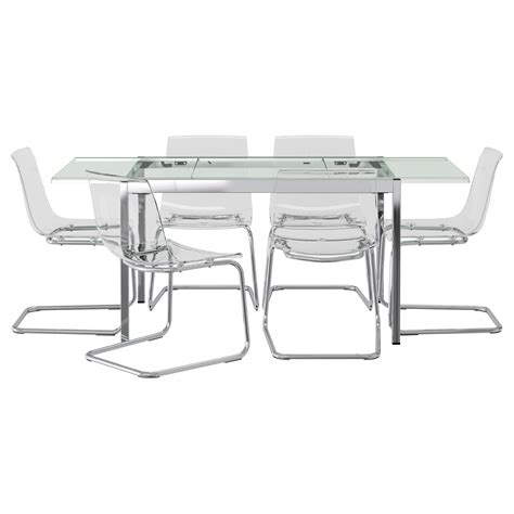 glivarp tobias table and 6 chairs transparent transparent