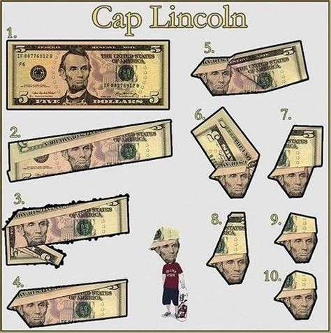 Cool Dollar Bill Origami - how to give abraham lincoln a modern hat on a 5 dollar