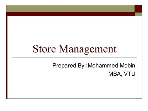 Mba In Store Management by Store Management
