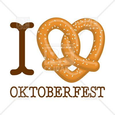 love oktoberfest pretzel heart vector image vector