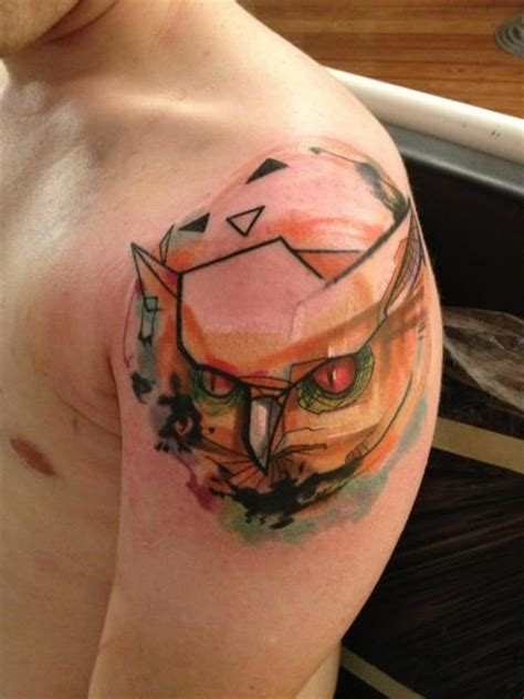 abstract owl tattoo shoulder owl abstract by voller konstrat