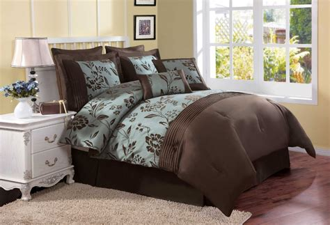 brown and blue comforter sets queen classic bedroom decor with aurora 8 piece brown blue