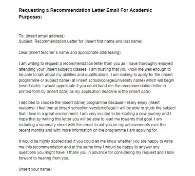 Business Reference Letter Request recommendation letter email request academic purposes
