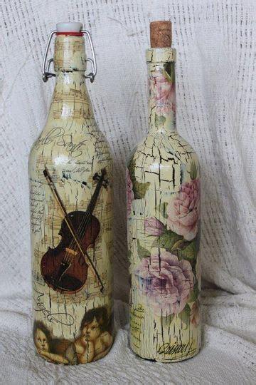 como decorar botellas de vidrio estilo vintage bellas ideas de botellas de vidrio decoradas con servilletas