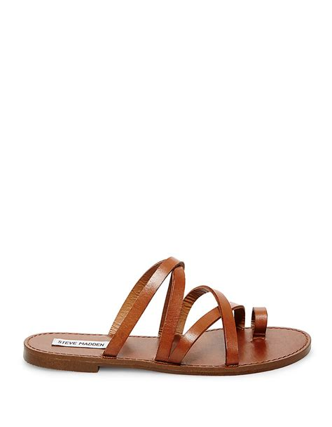 leather sandals s steve madden antler leather sandals in brown cognac