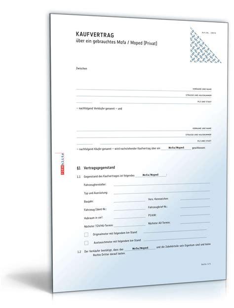 Motorrad Verkaufen Vertrag Vorlage by Kaufvertrag Gebrauchtes Mofa Rechtssicheres Muster Zum