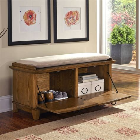 storage bench oak shop home styles arts and crafts cottage oak indoor storage bench at lowes com