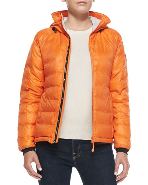 Jacket Jaket Cowok Orange Oranye canada goose c hooded puffer jacket in orange sunset orange lyst
