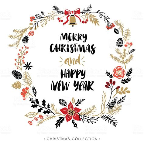 happy  year  merry christmas greeting wreath  calligraphy stock illustration