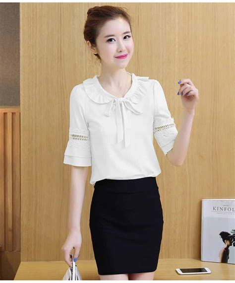 Blouse Import Jy774055 2 Model blouse putih polos pita renda import jual model