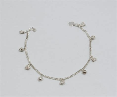and charms 925 sterling silver anklet bracelet