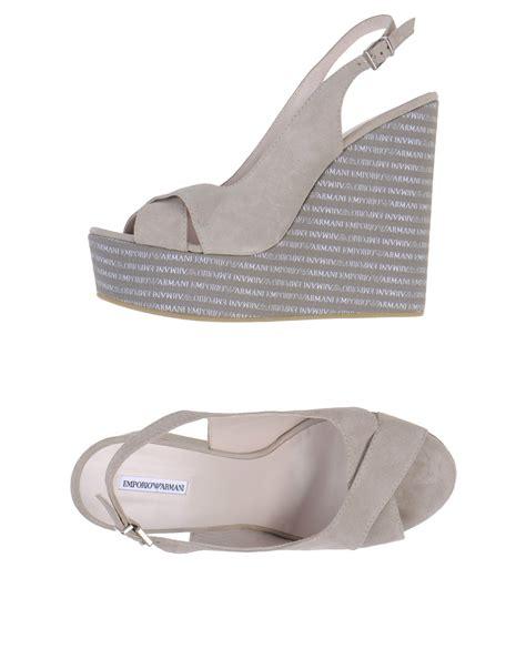 grey high heel sandals emporio armani high heel wedge suede sandals in gray