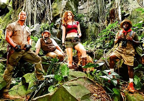 what is on at the movies jumanji welcome to the jungle by dwayne johnson jumanji cast poses in the jungle comingsoon net